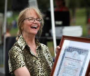 Marcia Gipstein with Award