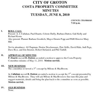 Icon of Costa Property Committee 06-08-10