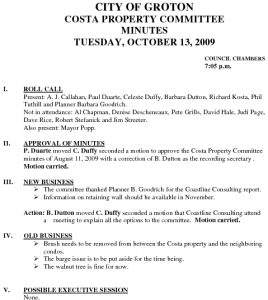 Icon of Costa Property Committee 10-13-09