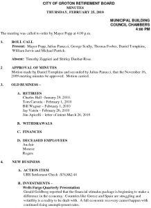 Icon of City of Groton Retirement Board 2-25-10