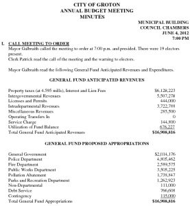 Icon of 2012 City Of Groton Annual Budget Meeting Minutes