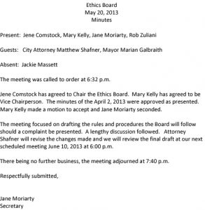 Icon of Ethics Board Minutes 5-20-13