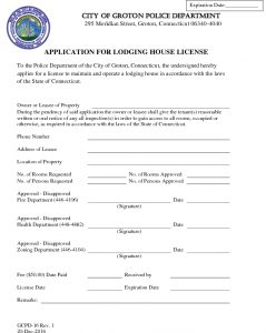 Icon of Lodging House License Application