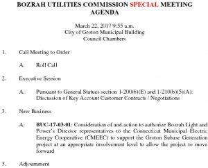 Bozrah Utilities Commission SP AGENDA 032217