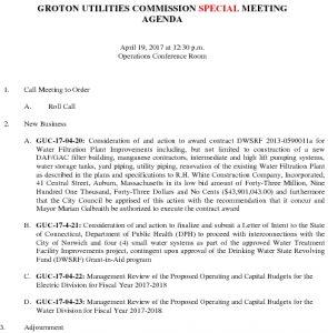 Groton Utilities Commission SP AGENDA 041917