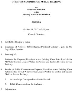 Icon of Groton Utilities Commission Public Hearing AGENDA - WATER RATES 101817