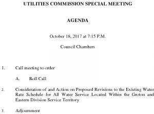 Icon of Groton Utilities Commission SP MEETING For WATER RATES 101817