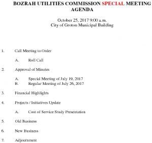 Bozrah Utilities Commission SP AGENDA 102517