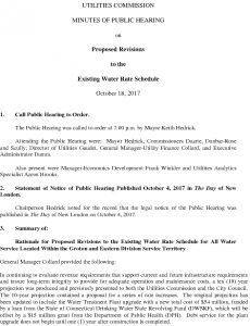 Icon of Utilities Commission Public Hearing On Proposed Revisions To Existing Water Rate Schedule 101817