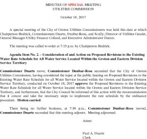 Icon of Utilities Commission SP Meeting Minutes 101817