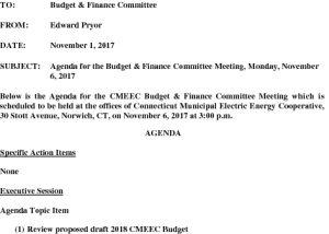 CMEEC Budget And Finance Comm Agenda 11-6-2017