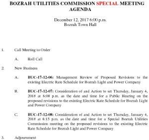 Bozrah Utilities Commission SP AGENDA 121217