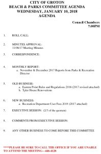 Beach And Parks Committee Agenda Jan 2018