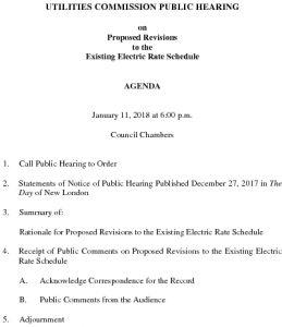 Groton Utilities Commission Public Hearing AGENDA - ELECTRIC RATES 011118