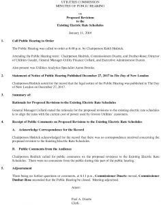 Icon of Utilities Commission Public Hearing On Proposed Revisions To Existing Electric Rate Schedule 011817