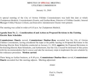 Icon of Utilities Commission SP Meeting Electric Rates Minutes 011118