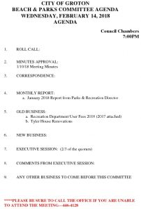 Beach And Parks Committee Agenda Feb 2018