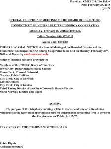 CMEEC Special Board Meeting Notice 02-23-2018
