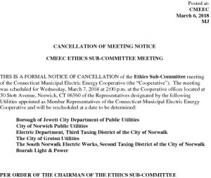 Cancellation Notice - Ethics SubCommittee 03-07-2018