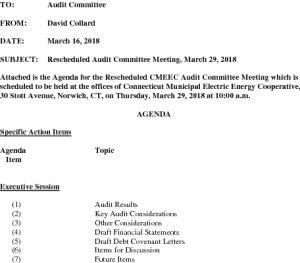 CMEEC Rescheduled Audit Committee Meeting Agenda 03-29-2018
