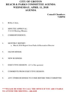 Icon of Beach And Parks Committee Agenda Apr 2018