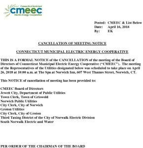 CMEEC Cancellation Notice BOD Mtg  04-26-2018