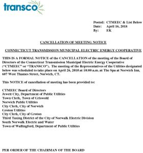 TRANSCO Notice Of Cancellatoin Of Meeting 04-26-2018