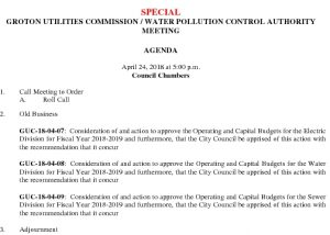 Groton Utilities Commission SP AGENDA 042518