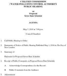 Icon of Groton Utilities Commission Public Hearing AGENDA - SEWER RATES 050718
