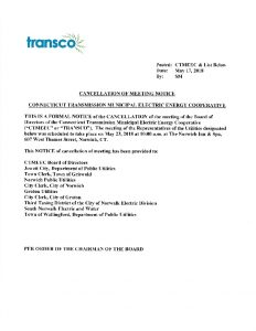 TRANSCO Notice Of Cancellation Of Meeting 05-23-2018