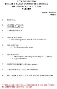 Icon of Beach And Parks Committee Agenda July 2018