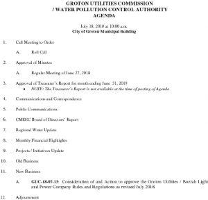 Icon of Groton Utilities Commission - WPCA AGENDA 071818