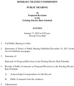 Icon of AGENDA Bozrah Utilities Commission Public Hearing - ELECTRIC RATES 011718