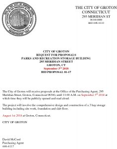 Icon of RFP - Parks And Rec Storage Building