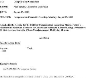 CMEEC Compensation Committee Meeting Agenda 08-27-2018