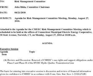 CMEEC Risk Management Committee Agenda 08-27-2018