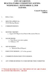 Icon of Beach And Parks Committee Agenda Sept 2018