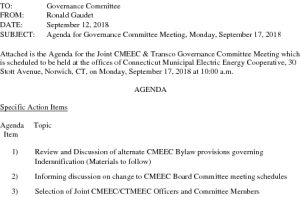 CMEEC Governance Committee Meeting Agenda 09-17-2018
