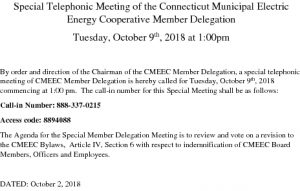 CMEEC Member Delegation Notice Of Special Meeting 10-09-2018 For MEUs
