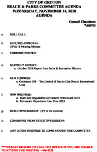 Icon of Beach And Parks Committee Agenda Nov 2018