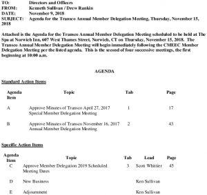 Transco Annual Member Delegation Meeting Agenda 11-15-2018