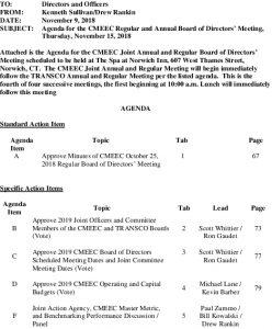 CMEEC Regular And Annual Meeting Agenda 11-15-2018