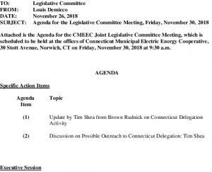 CMEEC Legislative Committee Agenda 11-30-2018