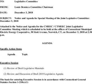 CMEEC Legislative Committee Agenda 12-05-2018