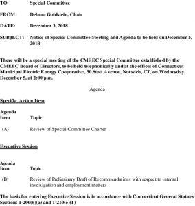 CMEEC Special Committee Agenda 12-05-2018