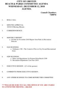 Icon of Beach And Parks Committee Agenda Dec 2018