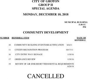 12-10-18 CD Cancellation
