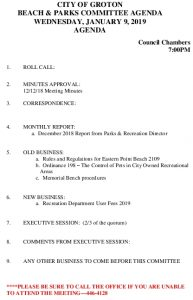 Beach And Parks Committee Agenda Jan 2019
