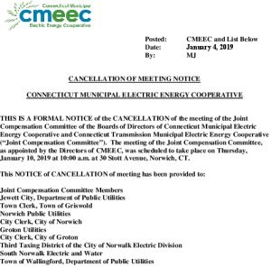 Notice Of Cancellation Of The 01-10-2019 Joint Cancellation Compensation Committee Meeting 01-04-2019