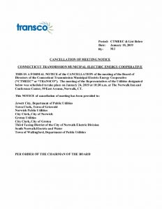 TRANSCO Cancellation Notice 01-24-2019